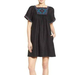 Madewell Black Linen Embroidered Babydoll Dress